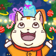 A silly white cat - merry X'mas