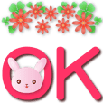 Cute pink rabbit-big font