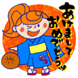 "Happy new year stickers""Basketball girl"""