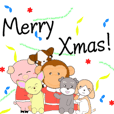 Monkey Pig and dogs(Christmas ver )