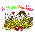 HAPPY NEW YEAR 2017 with bird&squirrel