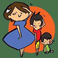 男の子2人兄弟のママさんスタンプ☆