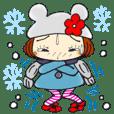 ひま子ちゃん258毎日使える冬スタンプ。