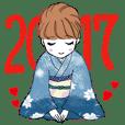 2017あけおめモテ子スタンプ