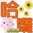 Cute Pink cat-Colorful Big font