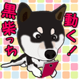 Move! Sticker of Black SHiba inu
