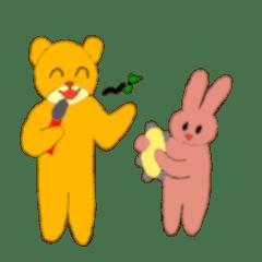 黄金のクマとピンクの」ウサギ」