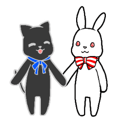 黒ネコと白ウサギのスタンプ