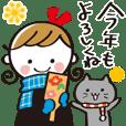Monochrome cute girl new year sticker**