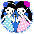 Cute twin girls sticker