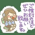 Call center woman Crayon Sticker