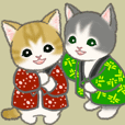 "Fluffy kittens wearing ""hanten"""