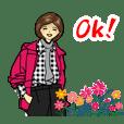 Cheerful girl sticker 5