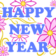 HAPPY NEW YEAR flowers greeting:Animated