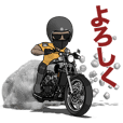 Powerful motorcycle and muscle rider