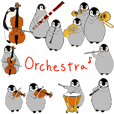 Emperor penguin family in the orchestra