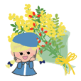 北欧色の花束スタンプ