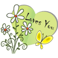 heart shape and flower greeting card
