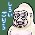 Cheerful white gorilla