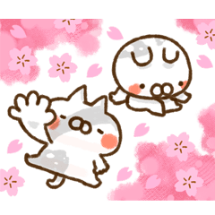 cat and rabbit in spring2