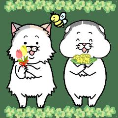おにぎり&たら【2匹の猫の春スタンプ】