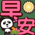 可愛貓熊淡粉色特大字超實用日常生活用語