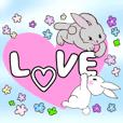 可愛い子ウサギたちとパステル色の優しお花