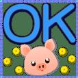 blue big font-Cute pig-Practical greet