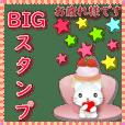 Japanese-big sticker-Cute White Cat
