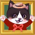 Pop-up stickers of Pets(Bicolor Cat)