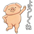 Sticker of a pig