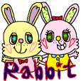 Coloful rabbit sticker