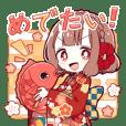飛び出す♪小鬼の少女【お正月・冬】(再販)