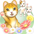 Flowers and Cats [Big Stickers]