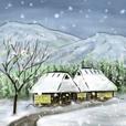デジタルペンで描く日本の四季のたより墨絵