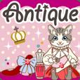 アンティーク雑貨と西洋猫の挨拶スタンプ