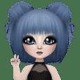 Blue haired cute girl