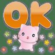 Cute pink cat--Practical greetings daily