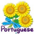 Thanks with flowers in Portuguese