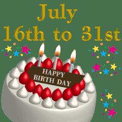 誕生日 7月 後半 Happy Birthday 動く #1