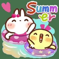 毎日便利【夏】白うさぎさん時々インコ