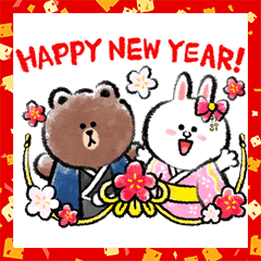 Brown's New Year's Gift Stickers