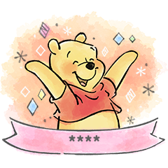 Pooh Custom Stickers (Watercolors)