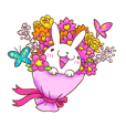 The smiling cute rabbit with flower