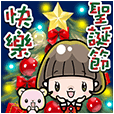 Talking Cute Girl Big Xmas Stickers