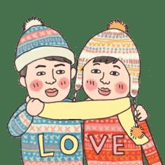 復古的冬季戀人 聖誕貼圖