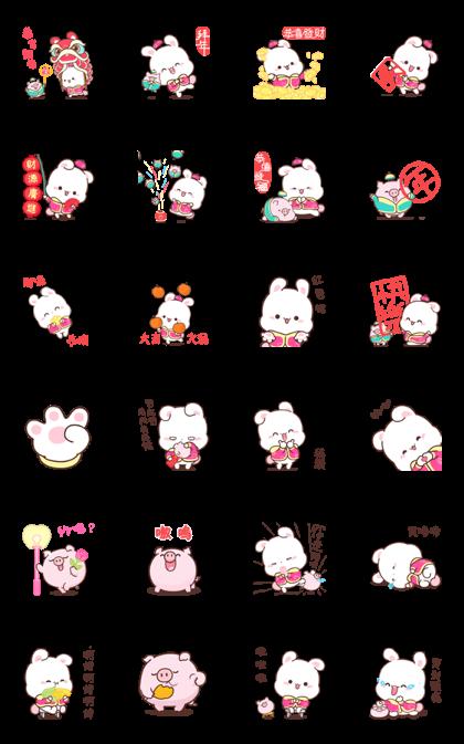 Happy Bunny CNY Stickers