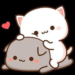 สติ๊กเกอร์ไลน์ Mochi Mochi Peach Cat & Friend 2