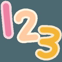 手繪繽紛可愛數字貼圖1 - 40。