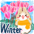 Stickers with rabbits and winter pattern